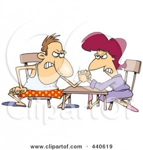 440619-Royalty-Free-RF-Clip-Art-Illustration-Of-A-Cartoon-Married-Couple-Arm-Wrestling